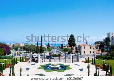 The view on Haifa city, Israel from the Bahai Garden - stock photo