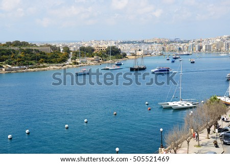 The view on harbour and sail yachts, Sliema, Malta