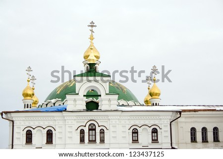 The view on Kiev Pechersk Lavra in winter time. - stock photo