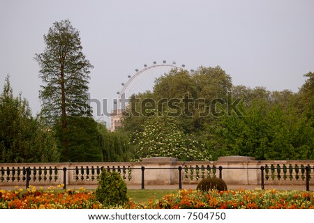 The view on London Eye from side Buckingham Palace