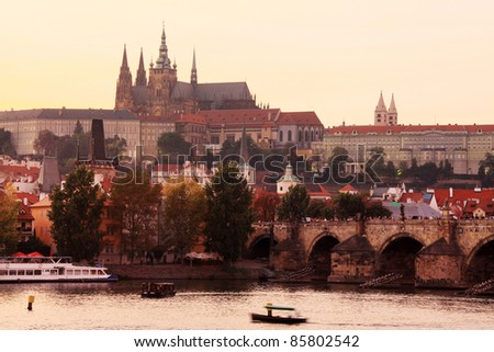 The View on Prague gothic Castle after Sunset, Czech Republic