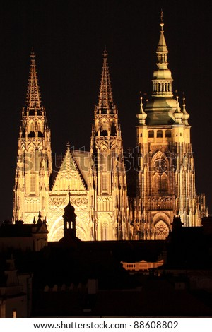 The View On Prague Gothic Castle In Night Czech Republic