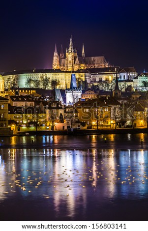 The View on Prague gothic Castle with Charles Bridge in the Night, Czech Republic - stock photo