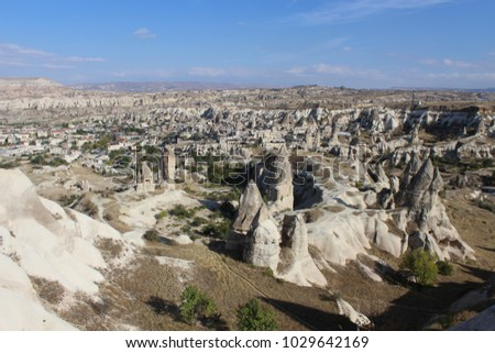 The view on rock town of Goreme in Cappadocia, Turkey