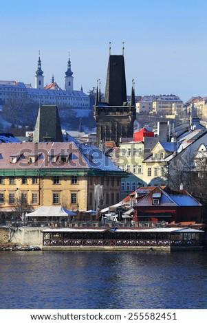 The View on snowy Prague Lesser Town, Czech Republic - stock photo