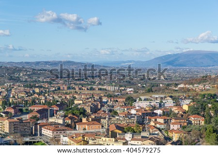 The view on Spoleto in the evening light, Umbria, Italy - stock photo