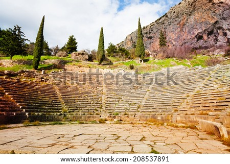 The view on the ancient Greek amphitheater, Delphi - stock photo