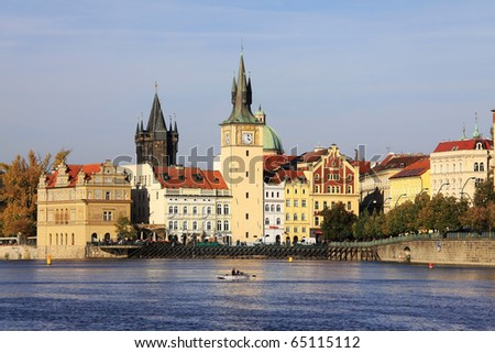 The View on the autumn Prague Old Town - stock photo