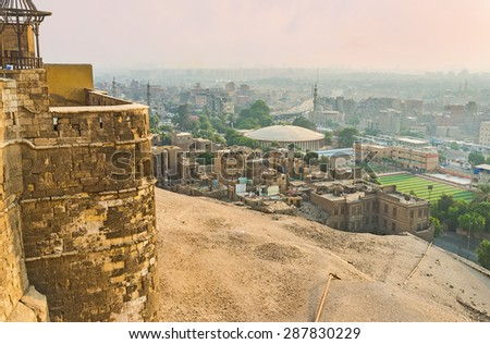 The view on the old town from the ramparts of the Citadel of Saladin, Cairo, Egypt. - stock photo
