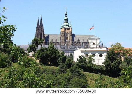 The View on the Prague's gothic Castle with flowering trees and green grass