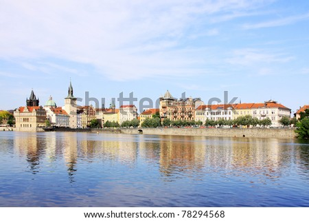 The View on the spring Prague Old Town, Czech Republic - stock photo