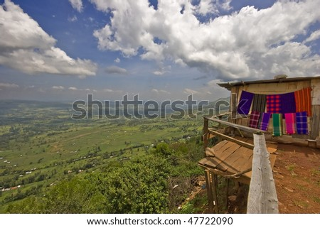 the view point of the great rift valley with curio shop, kenya