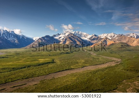 The view to the South from Polychrome Point in Denali National Park, Alaska. - stock photo