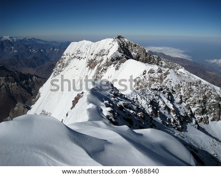 The view towards the south face from the summit of Aconcagua - stock photo