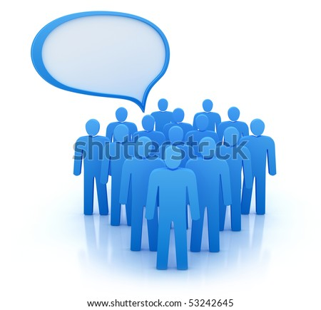 The views of people group. Isolated on white 3d concept. - stock photo