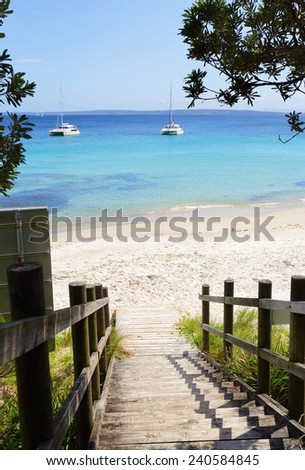 The viiews visitiors are greeted with from the timber boardwalk and stairs at Cabbage Tree Beach, NSW Australia - stock photo