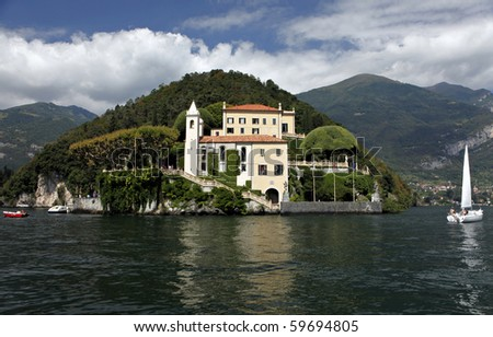 The Villa del Balbianello is a villa in the comune of Lenno, Italy, overlooking Lake Como. It is located on the tip of a small wooded peninsula on the western shore of Lake Como. - stock photo