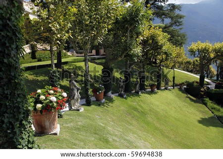 The Villa del Balbianello is a villa in the comune of Lenno, Italy, overlooking Lake Como. It is located on the tip of a small wooded peninsula of Lake Como. - stock photo