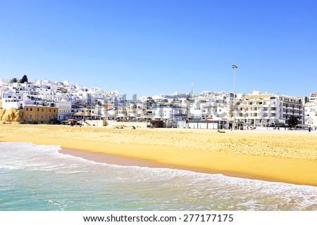 The village Albufeira in the Algarve Portugal - stock photo