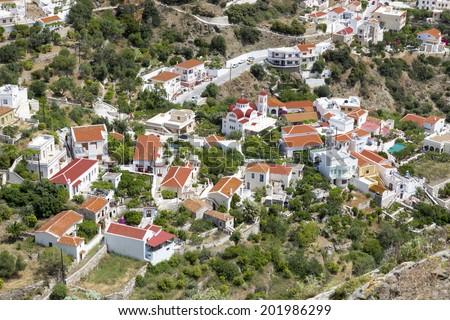 "The village ""Aperi"" on Karpathos island, Greece - stock photo"
