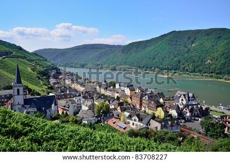 "The village ""Assmannshausen"" Rhine river valley, Germany - stock photo"