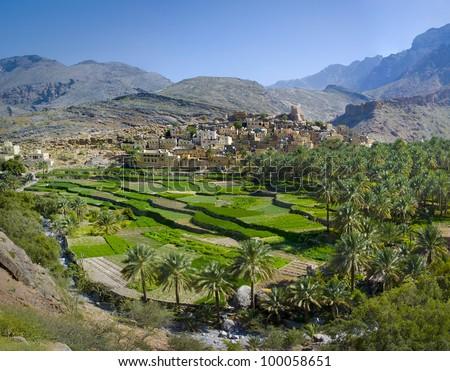The village Bilad Sayt, sultanate Oman - stock photo