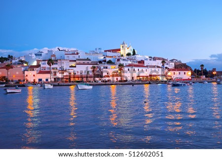 The village Ferragudo in the Algarve Portugal at sunset