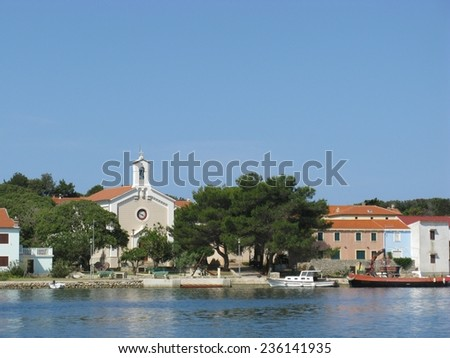 The village Ilovik on the Island Ilovik in the Adriatic sea of Croatia - stock photo