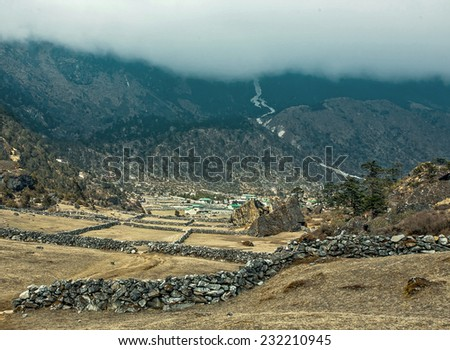 The village Khunde in the valley of sherpas - Nepal, Himalayas - stock photo