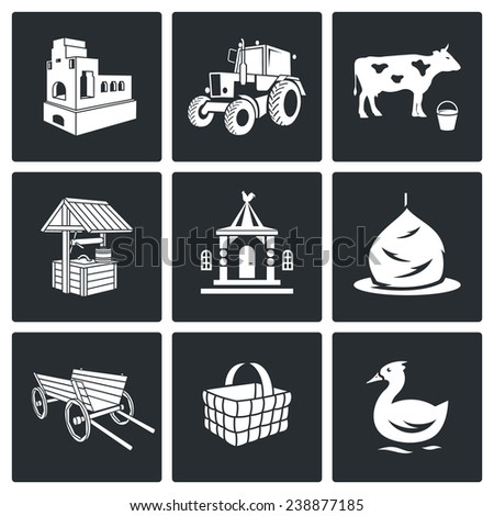 The village life Icons Set