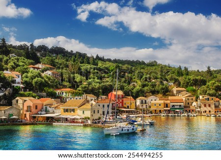 The village of Loggos, Paxos island, Greece - stock photo