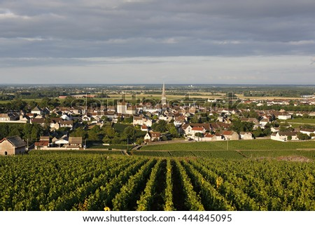 THE VILLAGE OF MEURSAULT, THE GREAT BURGUNDY WINE ROAD, COTE D'OR ,  FRANCE - stock photo