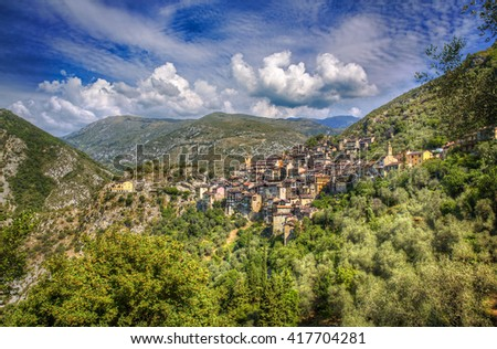 The Village of Saorge, Alpes-Maritimes, Provence, France - stock photo