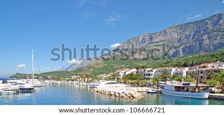 the Village of Tucepi,Makarska Riviera,Dalmatia,Croatia - stock photo