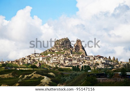 The village of Uchisar near Goreme in Cappadocia, Turkey. - stock photo