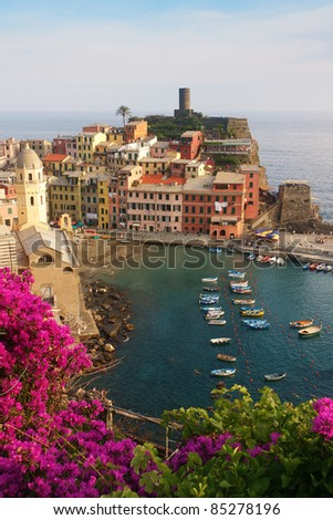 The village of Vernazza in Cinque Terre, Italy - stock photo
