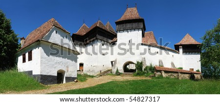 The village of Viscri is best known for its highly fortified church, in Transylvania, Romania - stock photo