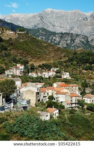 The village of Vivario, Haute-Corse, Corsica, France - stock photo