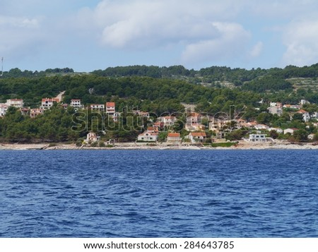 The village Stomorska on the island Solta in the Adriatic sea of Croatia - stock photo