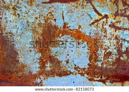 The vintag colored grunge iron textured background - stock photo