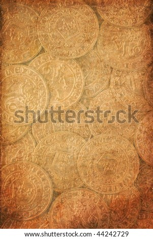 the vintage background vith antique coins - stock photo