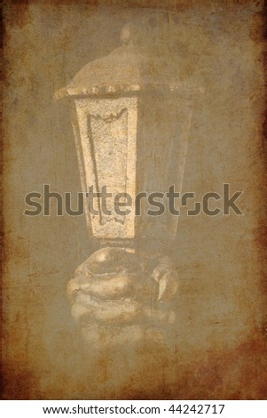 the vintage background with historical lantern in hand