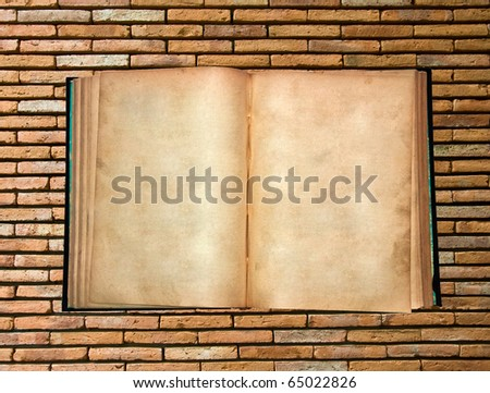 The Vintage book on wall background - stock photo