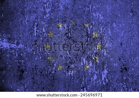 The vintage European Union flag. Texture, background - stock photo