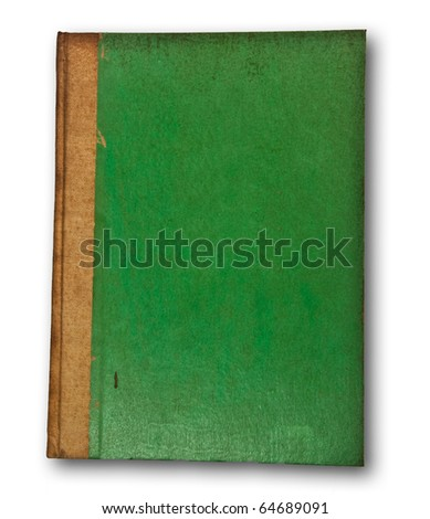 The Vintage green book on white background - stock photo