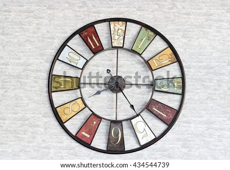 the vintage image of watch on the wall  - stock photo