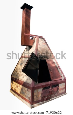 The Vintage incense paper burner of joss house isolated on white background