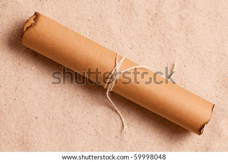 the vintage letter in sand - stock photo