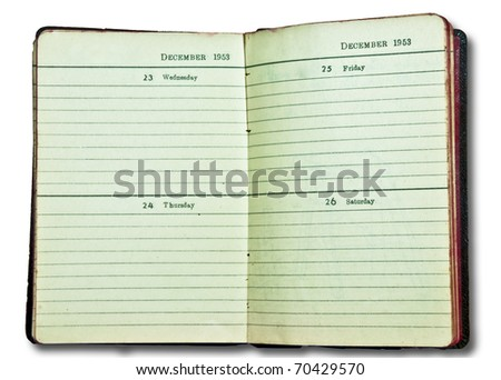The Vintage of notebook since 1953 isolated on white background - stock photo