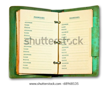 The Vintage open notebook isolated on white background - stock photo